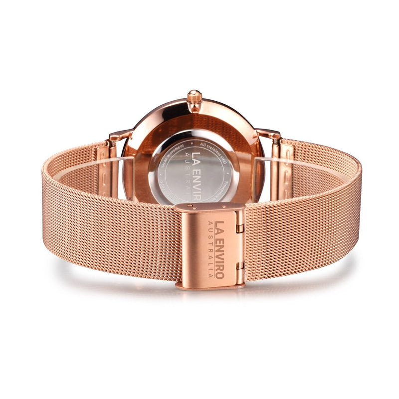 ROSE GOLD WITH ROSE GOLD MESH STRAP I TIERRA 40 MM