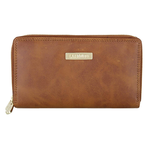 ESME Double Zipper Female Wallet Tan