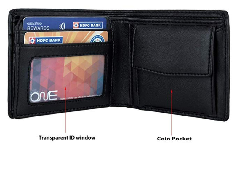 Vegan wallet with coin pocket and 2 ID's window.
