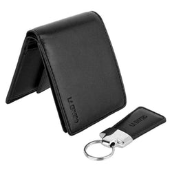 Aron Mens Vegan Wallet Black with key ring.