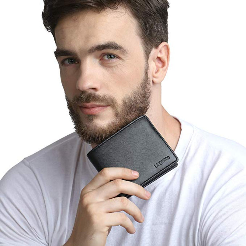 Vegan wallet with model.