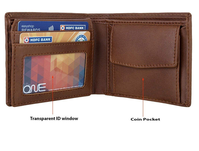 Vegan wallet with coin pocket and 2 ID's window