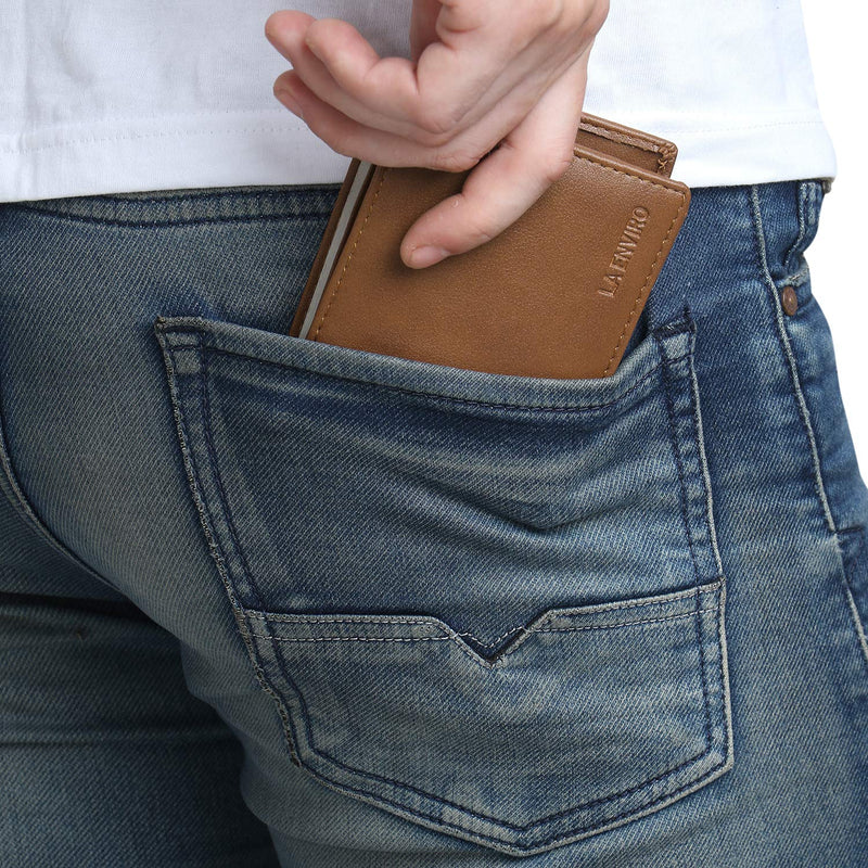Vegan wallet in brown colour in pocket