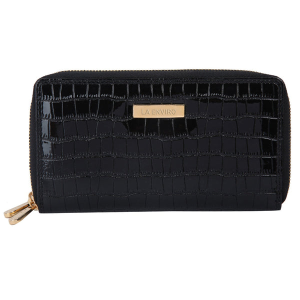ESME Double Zipper Female Wallet Black