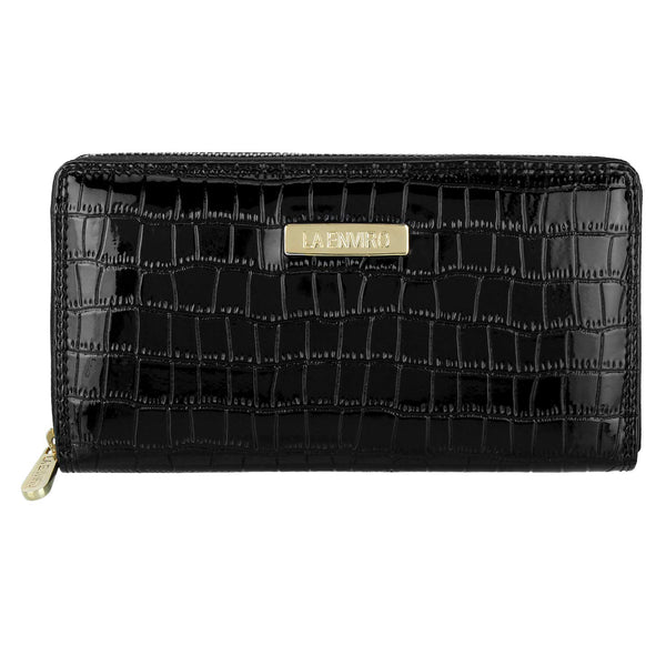 Nia Single Zipper Female Wallet Black