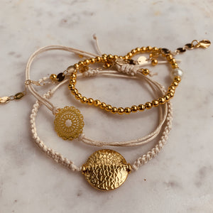 Stacker Bracelets in Cream and Gold