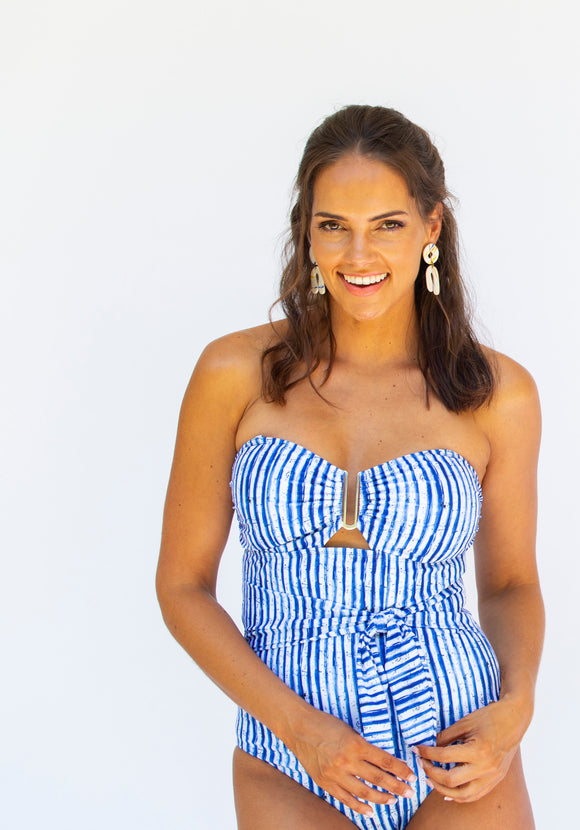 Bandeau One Piece - Nautical Stripe