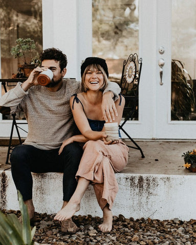 couple drinking herbal tea blend