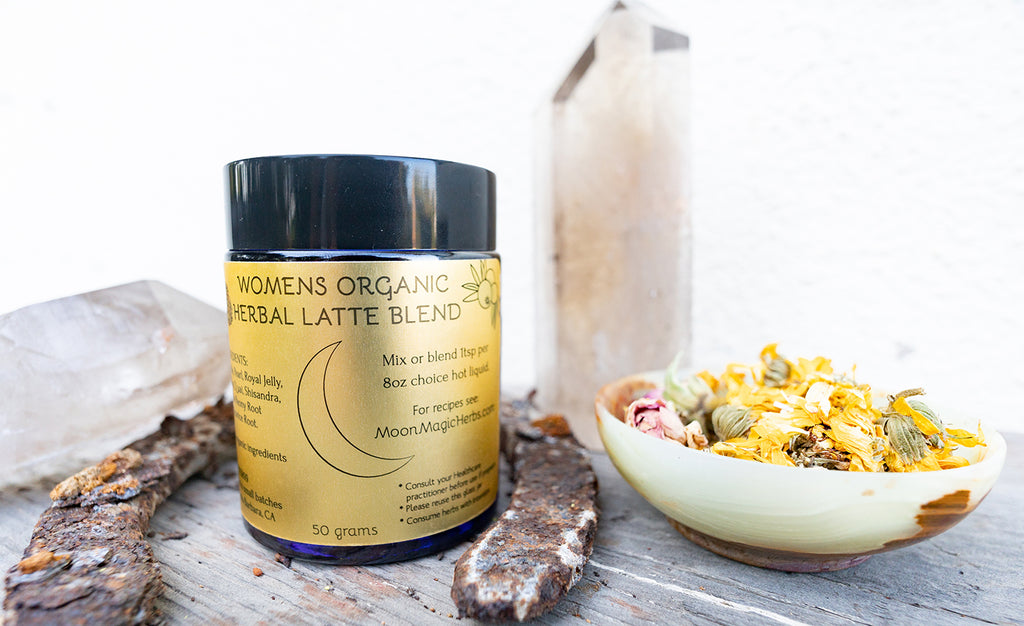 Moon Magic Women's Herbal Latte to support all moon cycles and the hormonal fluctuations.