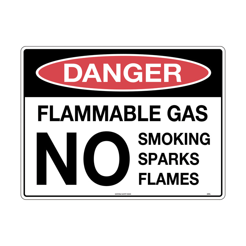 Danger Flammable Gas No Smoking Sparks Flames