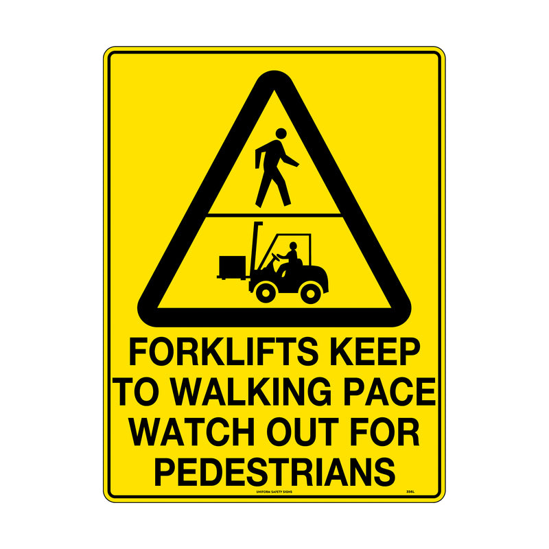 Forklifts Keep to Walking Pace Watch out for Pedestrians
