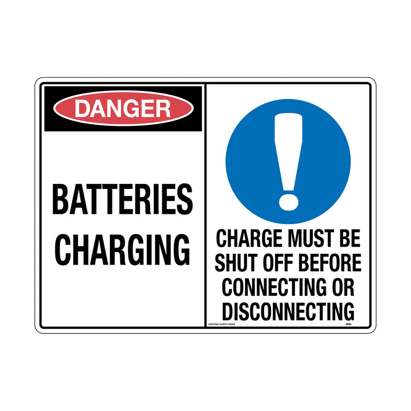 Danger Batteries Charging / Charge Must Be Shut Off Before Connecting Or Disconnecting