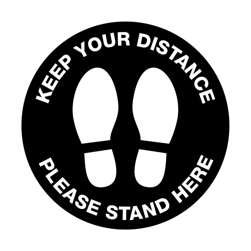 Keep Your Distance Please Stand Here Floor Sticker