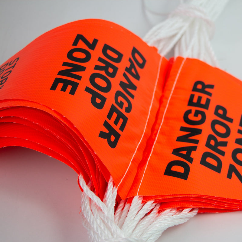 Bunting Safety Flags on Rope - Danger Drop Zone