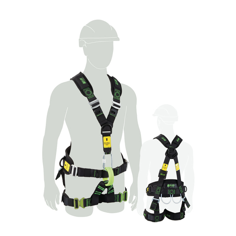 Work Positioning / Rope Access Harness, w/pad leg, front & rear fall arrest, Medium-Large