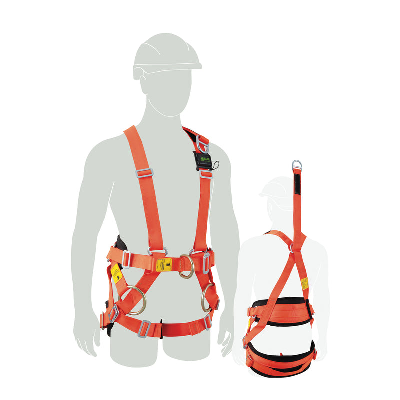 Line Worker Harness w/front & rear fall arrest, ext. dorsal, WP side dees, Medium-Large
