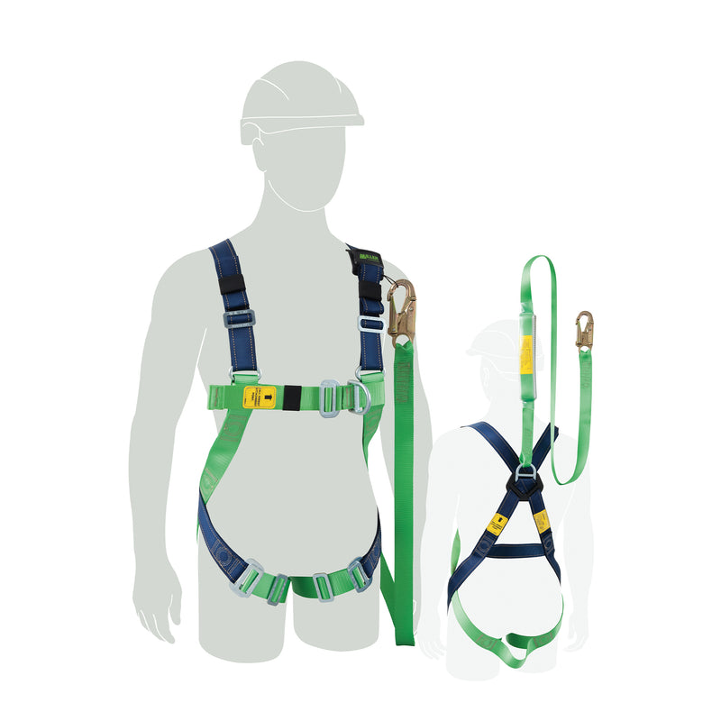 Contractor Value Plus Harness with integrated lanyard, Medium-Large