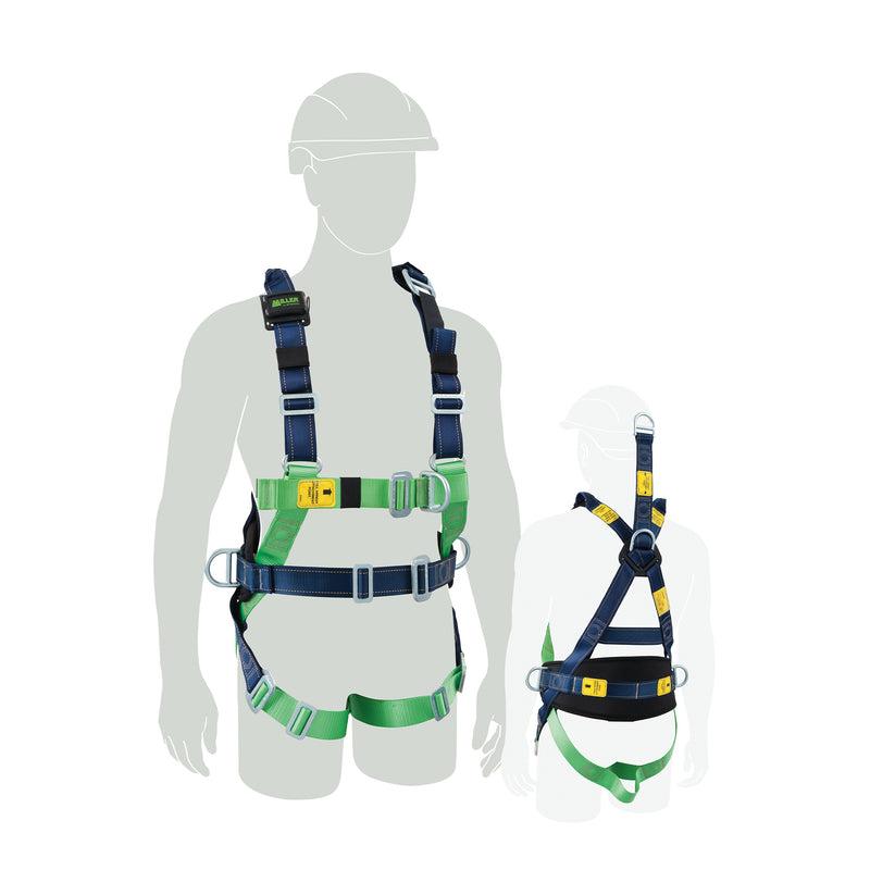 Riggers Harness  w/front & rear fall arrest, CS, ext. dorsal, WP side dees, Medium-Large