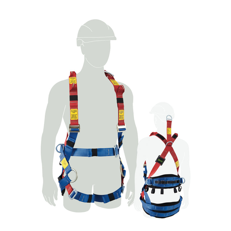 Tower Worker Harness  w/front & rear fall arrest, ext dorsal, side & CS Loops, Medium