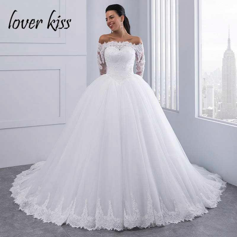 Lace Wedding Dress Long Sleeves Off Shoulder Tulle Puffy
