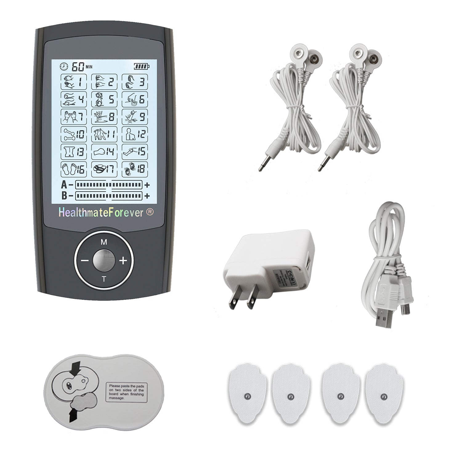 PRO18AB Pain Relief TENS Unit & Muscle Stimulator - 2 Year Warranty - HealthmateForever.com