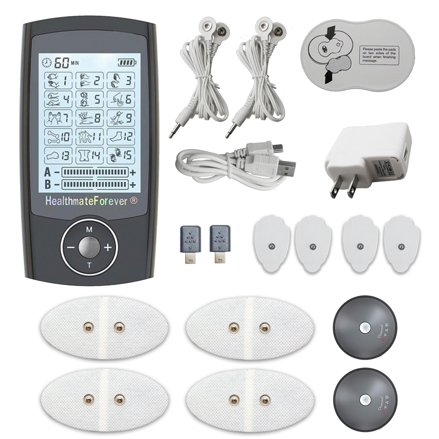 PRO15AB Pain Relief TENS Unit & Muscle Stimulator for reconditioning - 2 Year Warranty - HealthmateForever.com