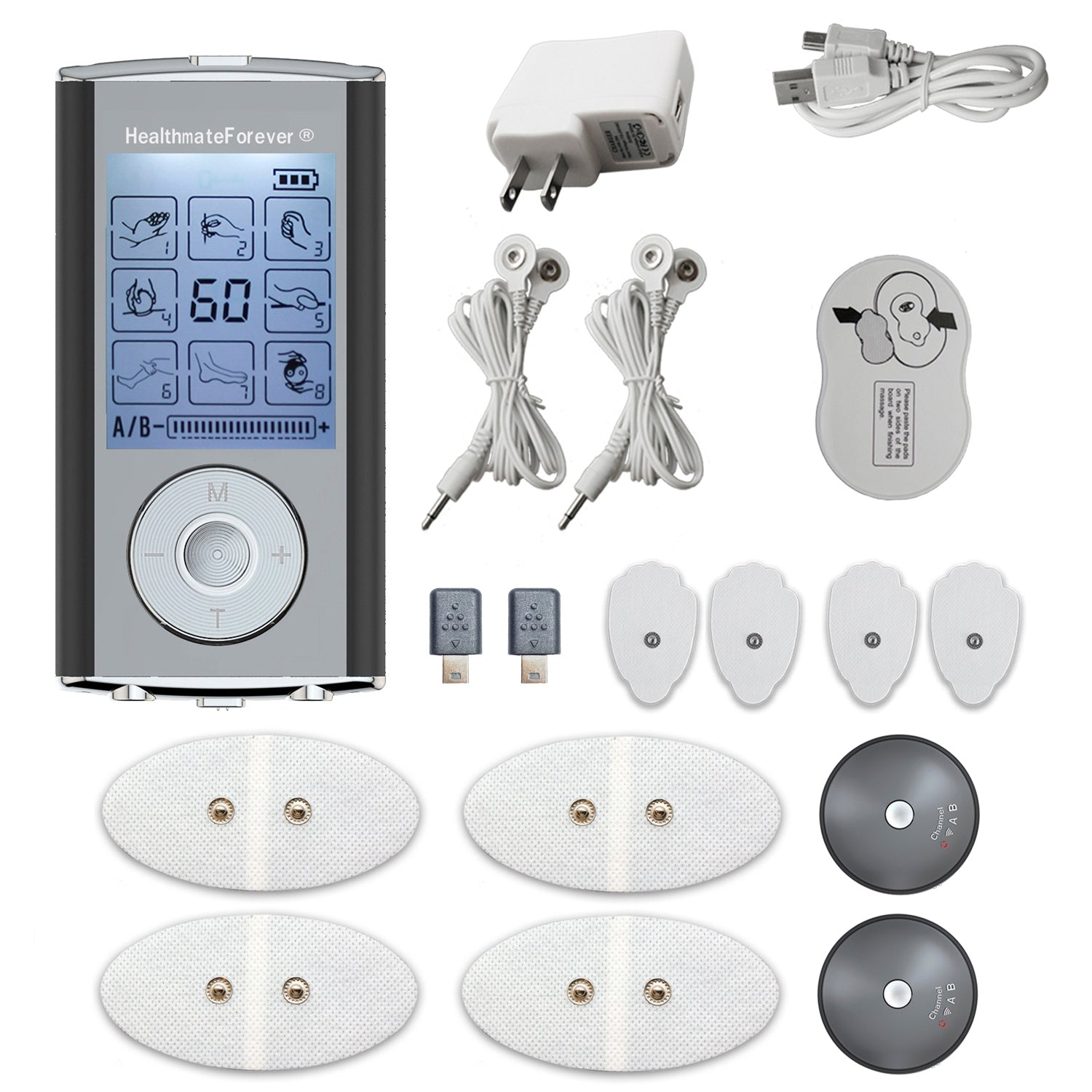 HM8AB TENS Unit & Muscle Stimulator, two independent AB channels like 2in1 machine - HealthmateForever.com