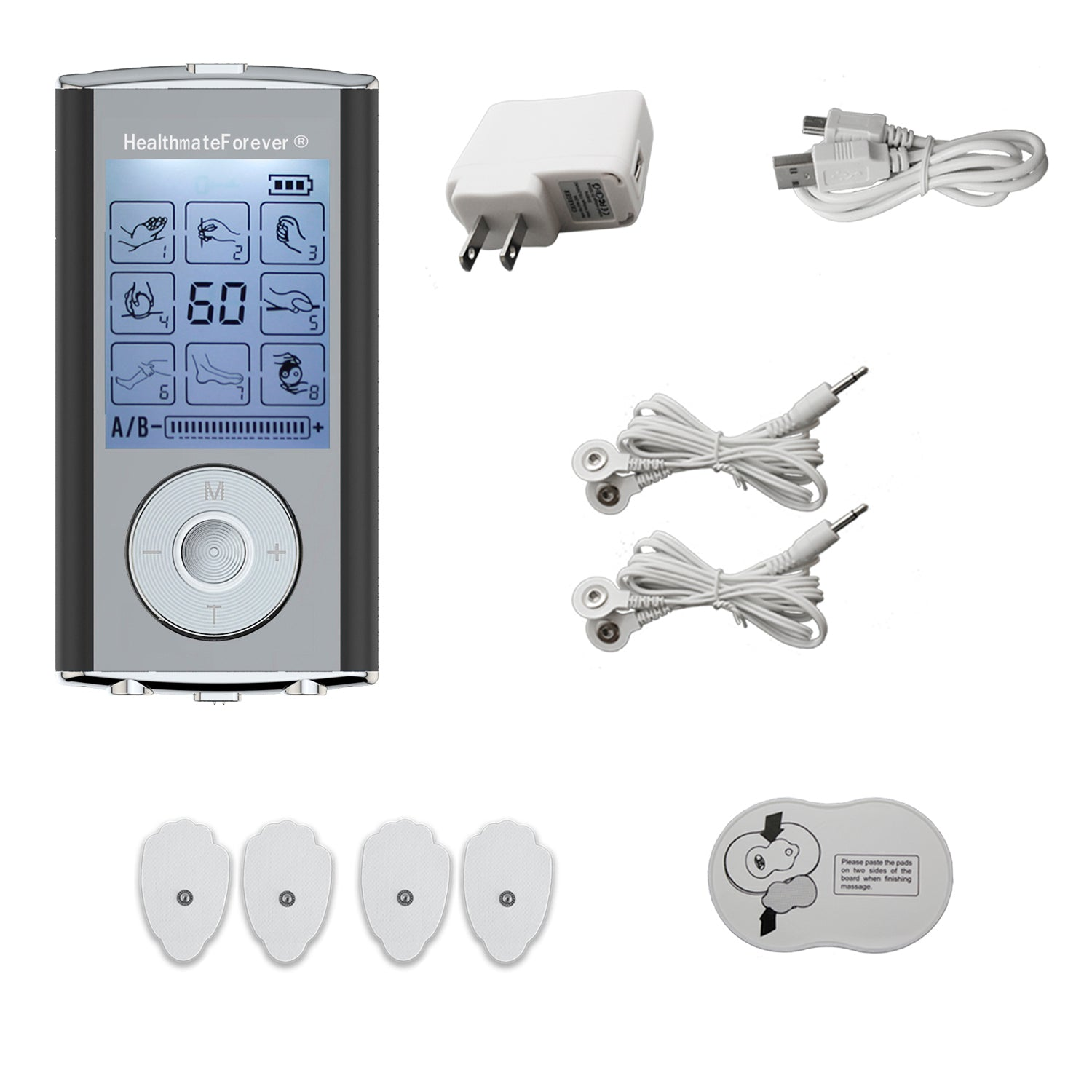 Dent & Scratch HM8AB TENS Unit & Muscle Stimulator, two independent AB channels like 2in1 machine - HealthmateForever.com
