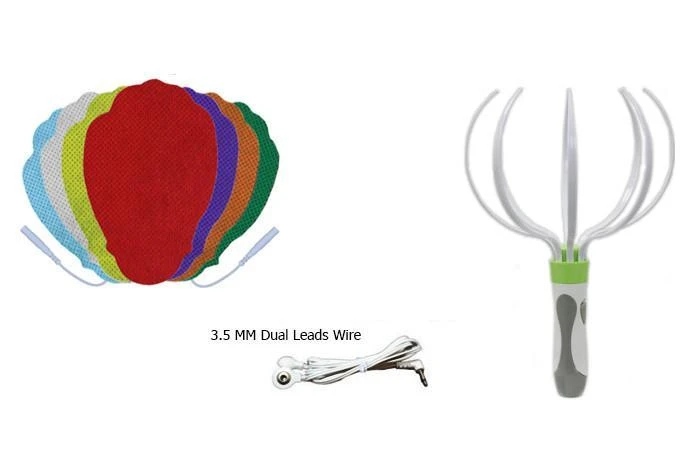 Multi-Color Pin-insert Hand-Shaped Replacement Electrode Pads Combo + Head Massager - HealthmateForever