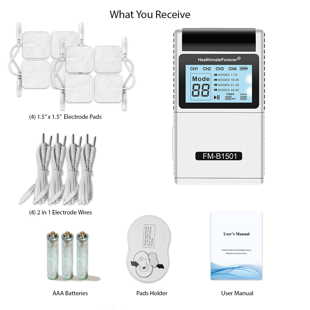 New Arrival - 2020 Version CT60AB Digital Pulse Pain Relief TENS UNIT 4 Outputs - 2 Year Warranty - HealthmateForever