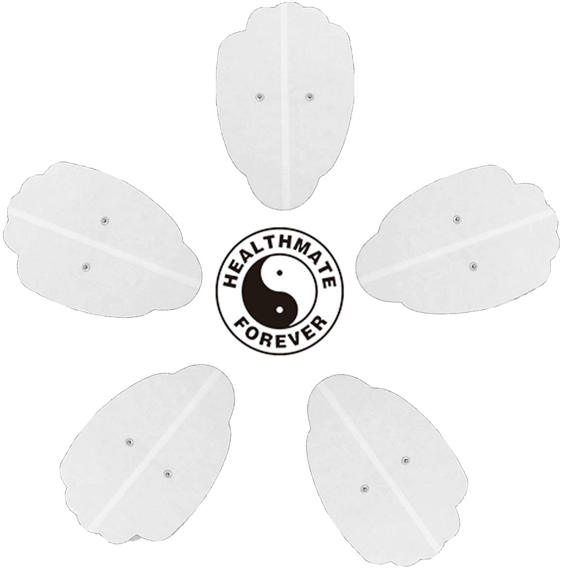 "5 Pcs White Snap-on XXL Hand-Shaped Electrode Patches Pads:  8.75""L x 5.5""W - HealthmateForever"