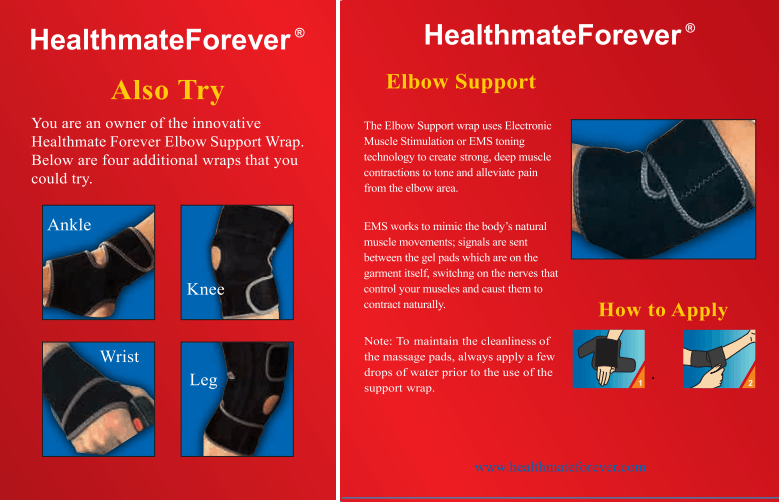 Conductive Elbow Brace / Support / Wrap for TENS & Muscle Stimulator Pain Management - HealthmateForever