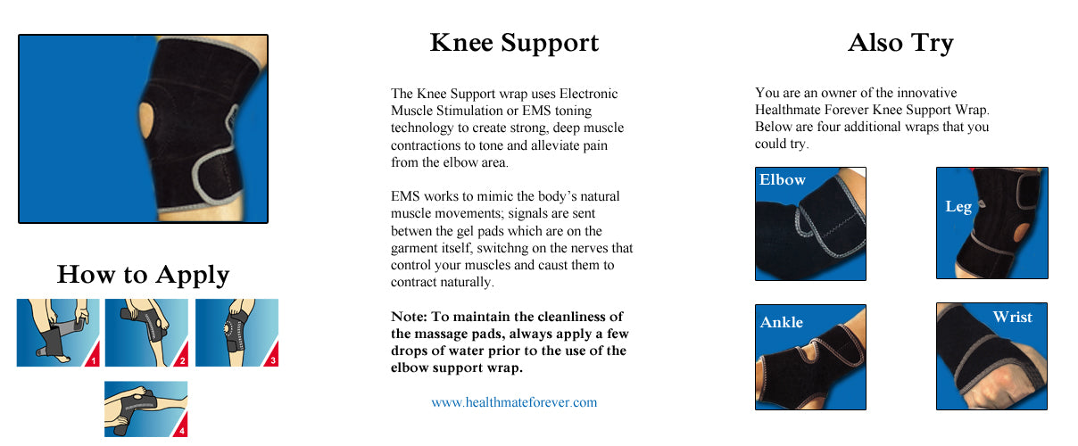 Conductive Knee Brace / Support / Wrap for TENS & Muscle Stimulator Pain Management - HealthmateForever.com