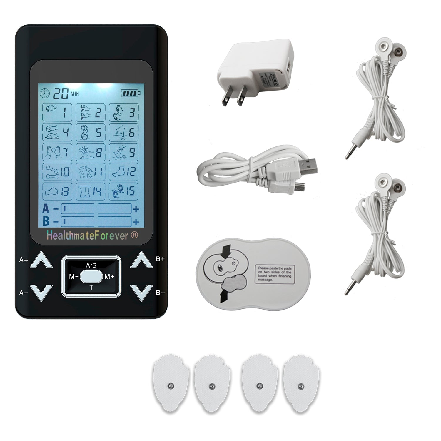 PRO15AB2 Pain Relief TENS Unit & Muscle Stimulator - 2 Year Warranty - HealthmateForever.com