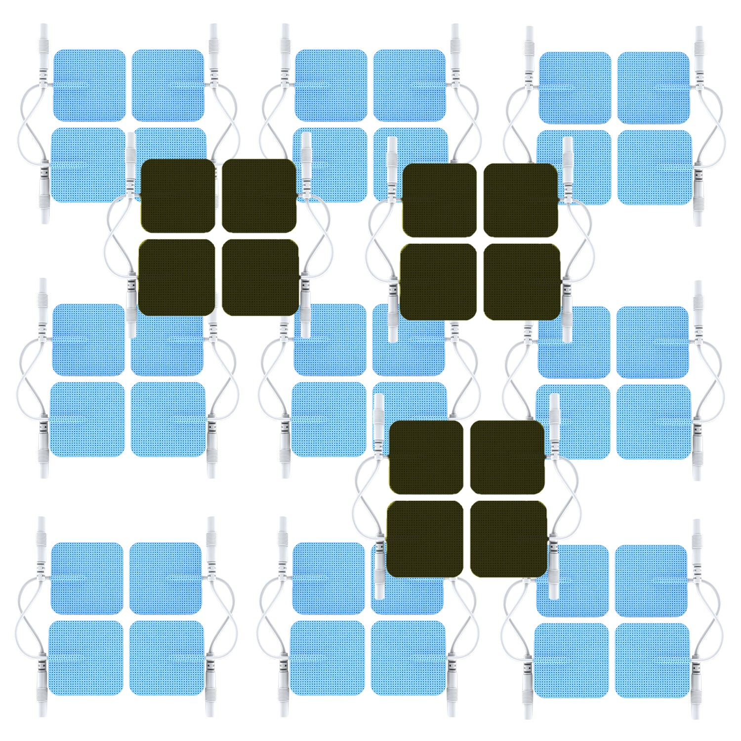 12 Sets (48 Pcs) Pin-Insert Square Electrode Patches Pads  for YK15AB | YK15RC | CT15AB | ZT15AB +CT60AB | ZT60AB Pain Relief TENS Machines Muscle Stimulators - HealthmateForever