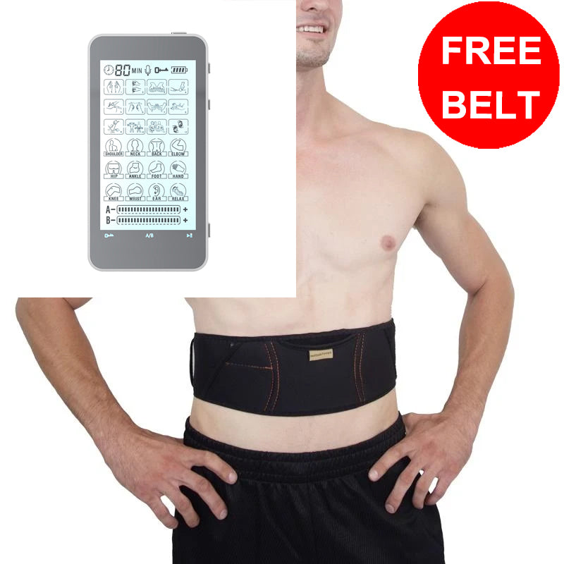 Free Massage Belt + T24AB FDA Cleared 24 mode Touch Screen Pain Relief TENS UNIT - 2 Year Warranty - HealthmateForever.com