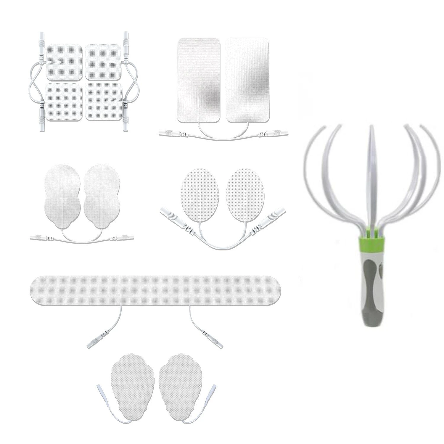 Assorted White Pin-Insert Repalcement Electrode Pads Combo + Head Massager - HealthmateForever
