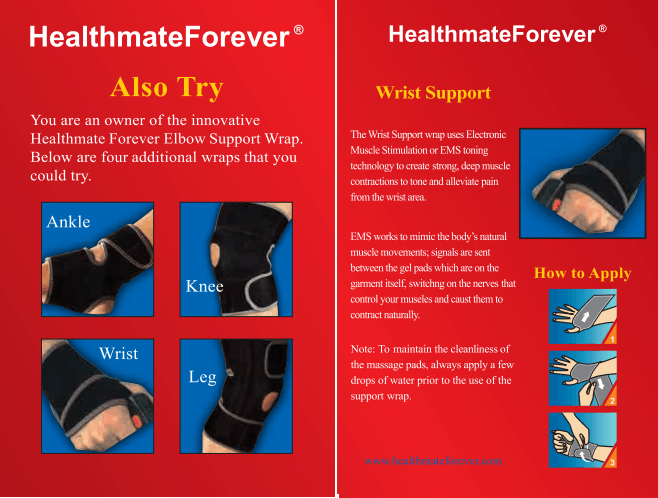 Conductive Wrist Brace / Support / Wrap for TENS & Muscle Stimulator Pain Management - HealthmateForever