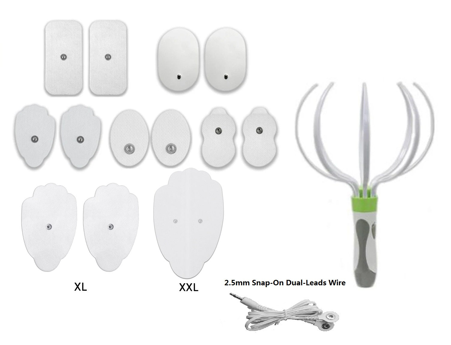 Assorted White Snap-on Pads Combo + Head Massager - HealthmateForever