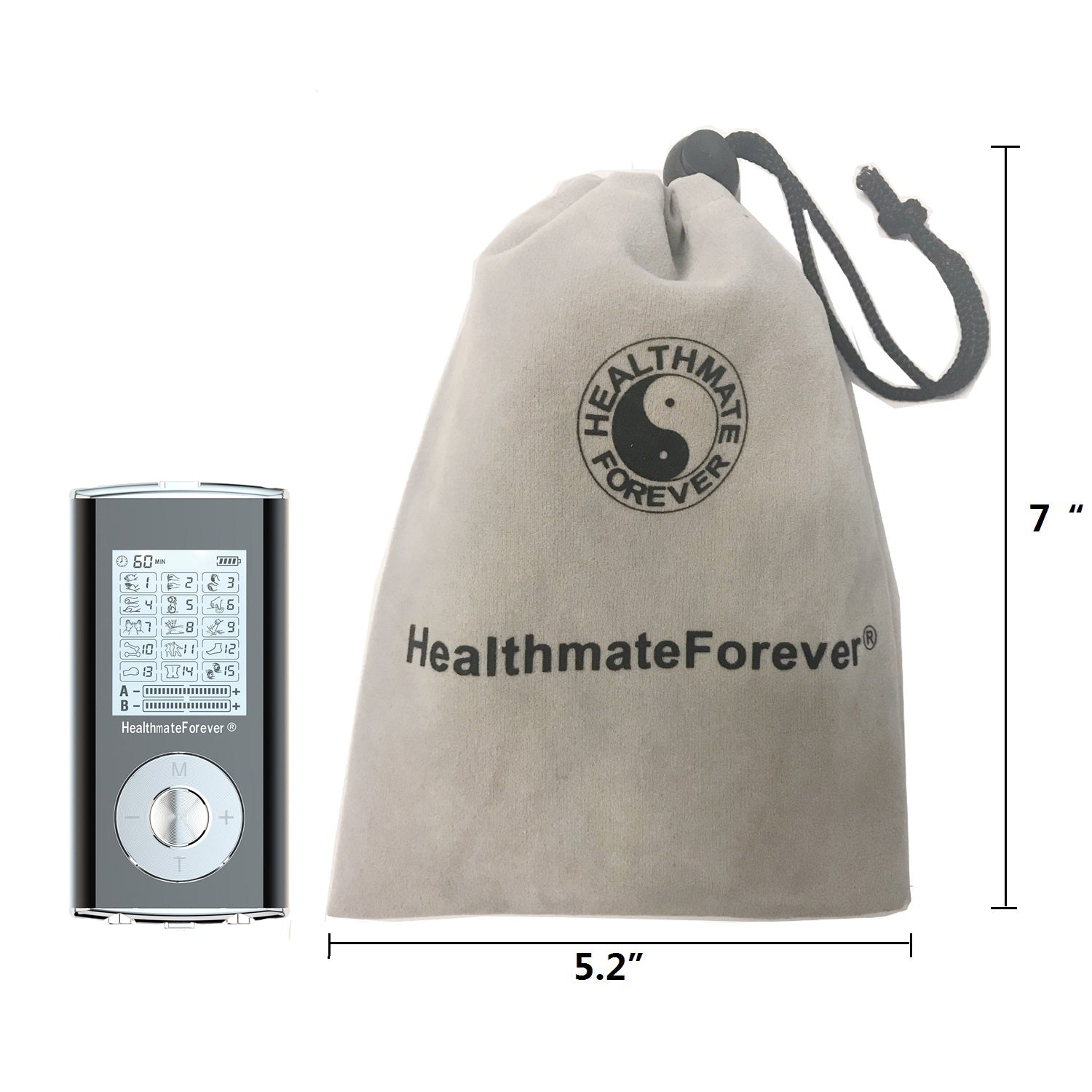 2in1 HM15AB TENS unit & Muscle Stimulator, two independent AB channels, 2 Year Warranty - HealthmateForever