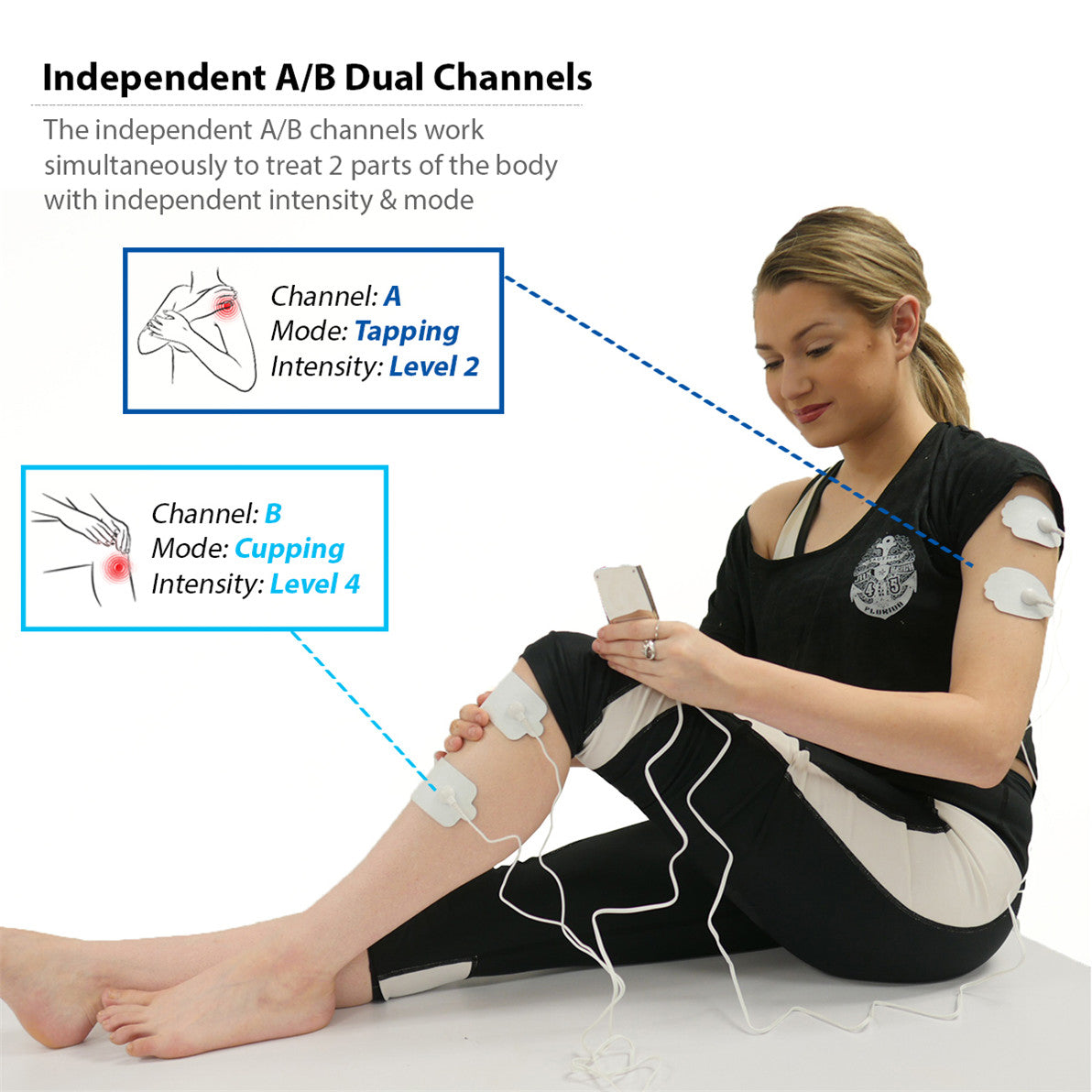 T24AB FDA Cleared 24 mode Touch Screen Pain Relief TENS UNIT - 2 Year Warranty - HealthmateForever