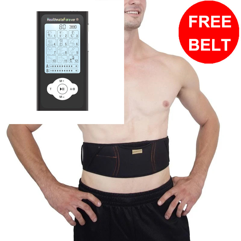 Free Massage Belt + PRO12ABQ Portable Palm Size Electronic Pulse Pain Relief TENS UNIT - HealthmateForever.com