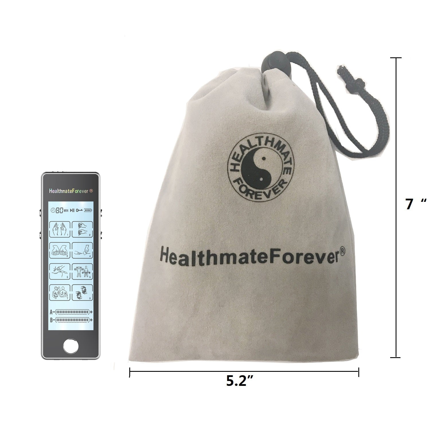 Touch Screen TS8ABV TENS Unit & Muscle Stimulator for Pain Management Sports Injury Recovery - HealthmateForever.com