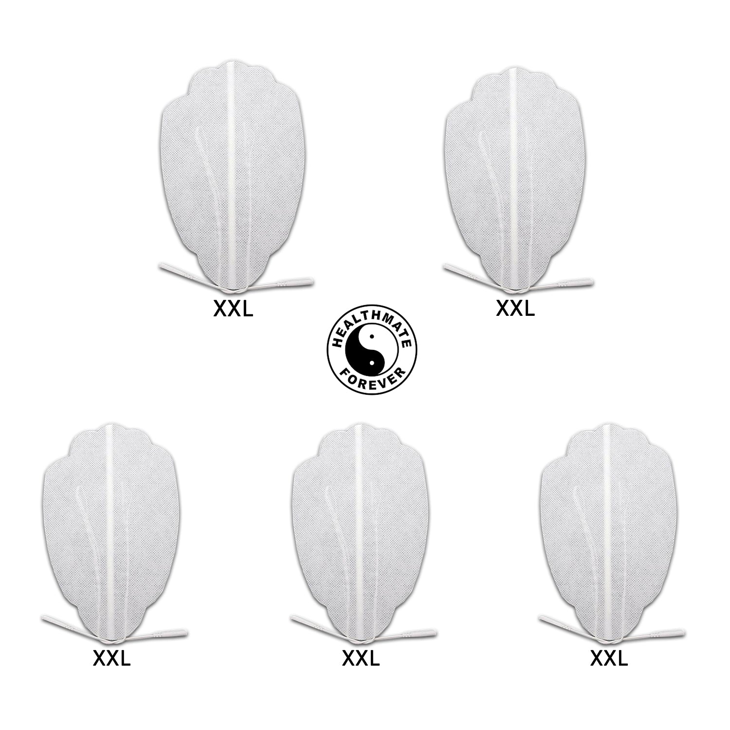 5 Pcs White XXL Hand-Shaped Pin inserted electrode patches pads for pain relief TENS & Muscle Stimulator - HealthmateForever