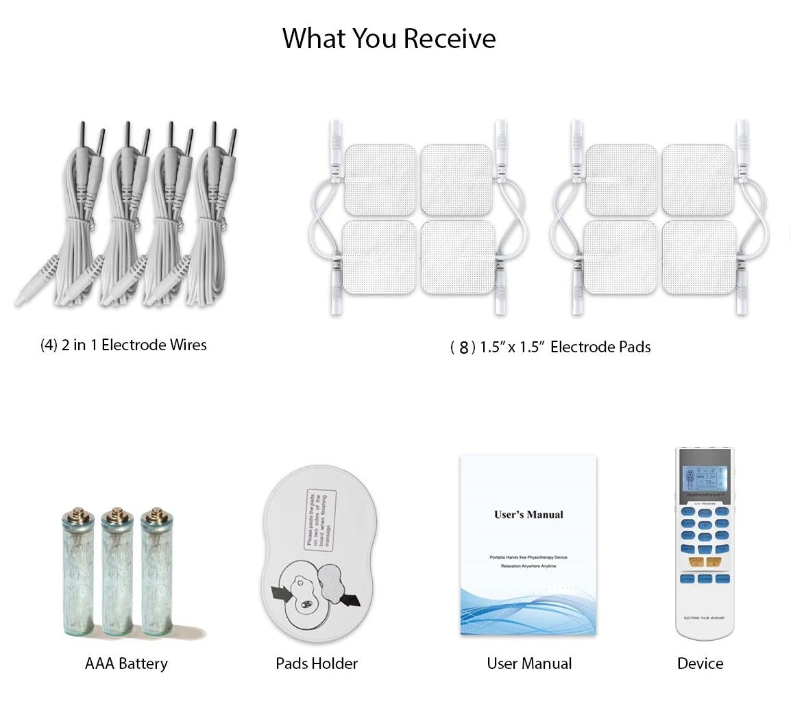 YK15AB Pain Relief TENS UNIT & Muscle Stimulator, 4 outputs, apply 8 pads at the same time - HealthmateForever.com