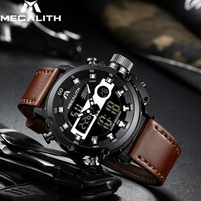 MEGALITH Fashion Men's LED Quartz Watch  Military Waterproof Watch Sport Multifunction