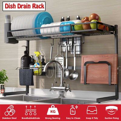 Over The Sink Dish  Rack Stainless in Black 65/85cm