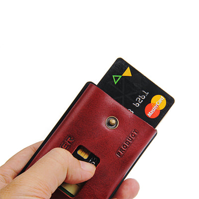 ZEEKER  Multifunctional Leather Metal Wallet Rfid Blocking Card Holder Credit Card Wallets