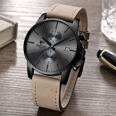CHEETAH  Sports Quartz Watches Mens Leather Waterproof Chronograph
