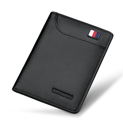 WILLIAMPOLO Genuine Leather Ultra thin Slim Short Wallet Men Small